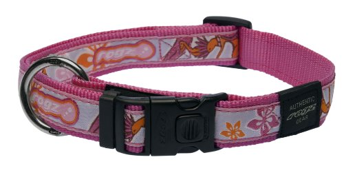 Rogz Fancy Dress Extra Large 1-Inch Armed Response Dog Collar, Pink Rogzette Design