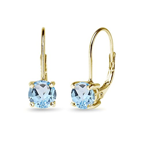(Yellow Sterling Silver 6mm Round-Cut Blue Topaz Leverback Earrings)