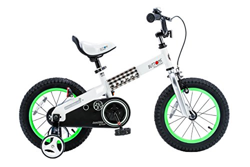 RoyalBaby CubeTube Kid's bikes, unisex children's bikes with training wheels, various trendy features, gifts for fashionable boys & girls, Green Buttons, 14 inch (Tricycle With Training Wheels)