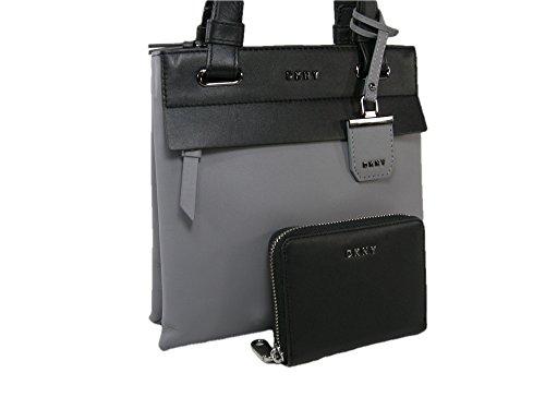 New DKNY Donna Karen Purse Crossbody Bag & Wallet Set 2 Piece Black Gray Nappa - Body Bag Cross Dkny