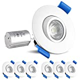 Luxrite 2 Inch Gimbal LED Recessed Light with Junction Box, 5W, 4000K Cool White, 400 Lumens, Dimmable Downlight, Energy Star & IC Rated, Damp Location - Adjustable Recessed Lighting (6 Pack)