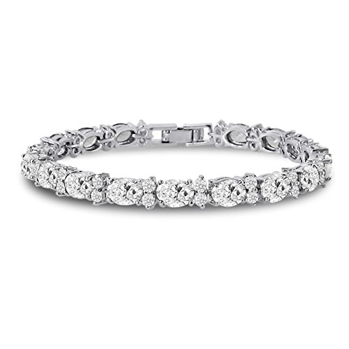 Kezef Cubic Zirconia Tennis Bracelet CZ Round Cut 2.5mm White 7x5mm Oval Cut Silver Plated Brass 7 inch