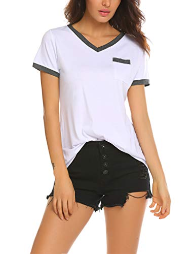 Qearal Women's Summer Basic Short Sleeve Tops Casual Loose Cotton T-Shirts with Pocket (L, Black&White)