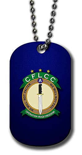 - ExpressItBest Aluminum Dog Tag Necklace and Key Ring - US Coalition Forces Land Component (CFLCC) Iraqi Freedom