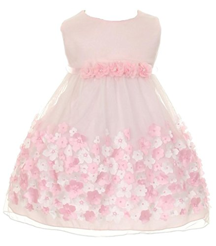 esh Taffeta 3D Chiffon Wedding Easter Flowers Girls Dresses Pink Size M ()