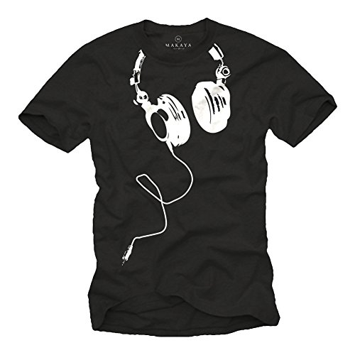 MAKAYA Music dj t-Shirt for Men Headphones Black Size S-XXXL
