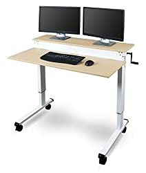 Stand Up Desk Store Crank Adjustable Sit To Stand Up Computer Desk Heavy Duty Steel Frame, 48 Inches, White Frame/birch Top