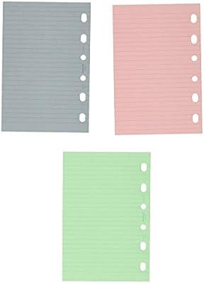 Filofax Pocket - Recambio para agenda de anillas, hojas rayadas para notas, color verde, rosa y azul
