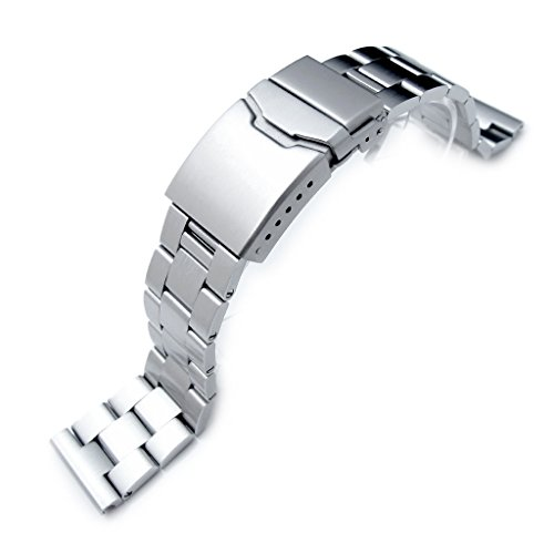 22mm Super Oyster Solid Stainless Steel Straight End Watch Band, Brushed, Button ()
