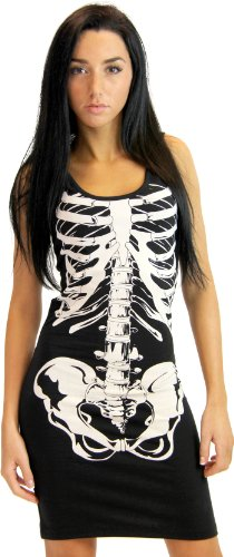 Glow in the Dark Black and White Skeleton Juniors Costume Tank Dress (Juniors Large)
