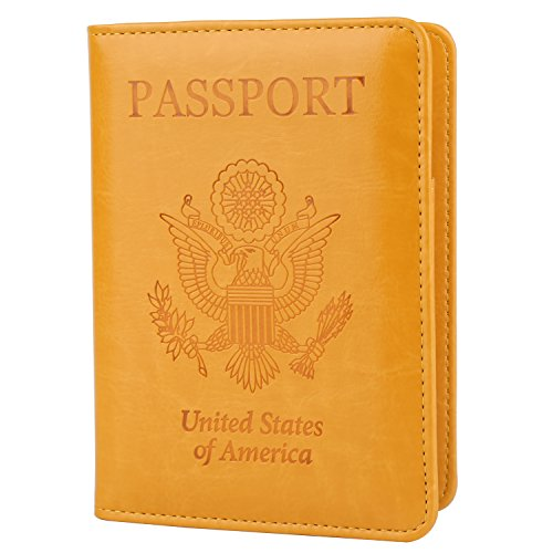 GDTK Leather Passport Holder Cover Case RFID Blocking Travel Wallet (Yellow) - Patent Leather Passport Cover