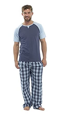 bbe1a450f80f Mens Checked Bottoms Pyjamas With Short Sleeve Top (2X-Large