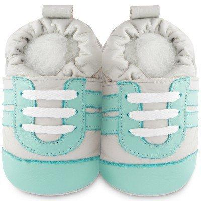Shooshoos-Chaussons bébé cuir Aquamarine gris et vert d'eau (18-24 mois)