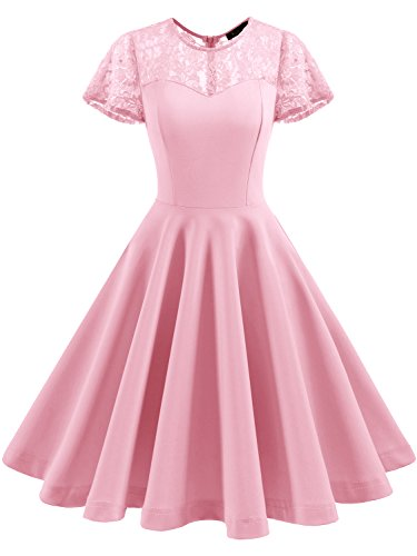 IVNIS RS90038 Women's Vintage 1950s Short Sleeve A-Line Cocktail Party Swing Dress with Floral Lace Pink XS]()