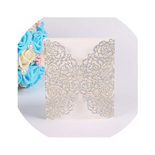 qiao-qiao-store 50Pcs/lot Romantic Cut Flowers Invitation Card Glitter Paper Wedding Invitation Cards Wedding Party Supplies-in Cards & Invitations from Home & Garden,Silver from qiao-qiao-store
