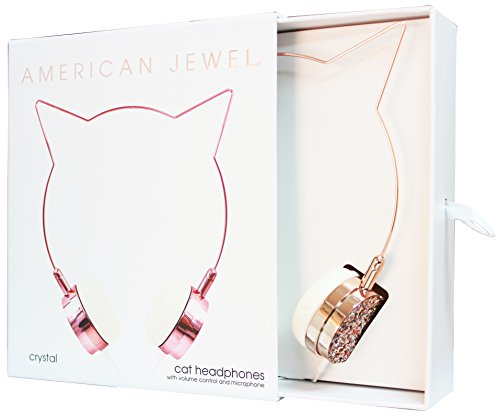 American Jewel Kitty Cat Ear Headphones - Wire Frame Headset with Volume Control and Microphone - Rose Gold and Crystal