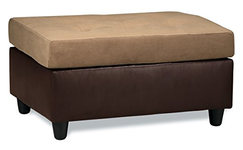 Leather Faux Microfiber (Homelegance Comfort Living Ottoman, Brown)