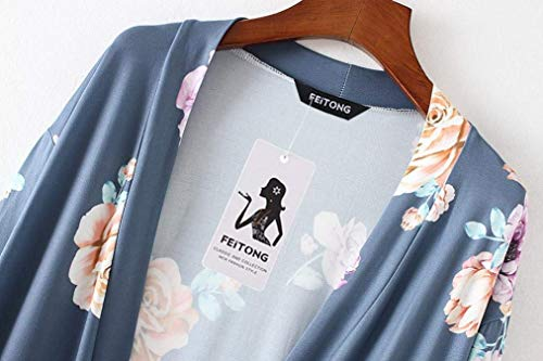 Abierto Primavera De Manga Outwear Marine Grande Mujeres Verano Relaxed Cardigan Exteriores Prendas Moda Elegantes Flores Cubrir Patrón Largo Ligeros Mujer Battercake Talla Casuales qIUgxwSCpn