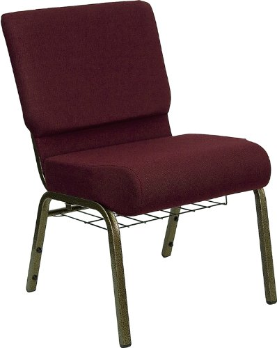 Flash Furniture FD-CH0221-4-GV-3169-BAS-GG Hercules Series 21-Inch Extra Wide Burgundy Church Chair with Gold Vein Frame (Series Stacking Chair Burgundy Fabric)