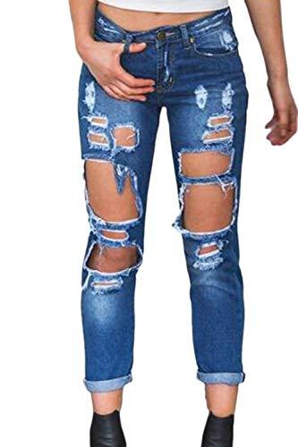 Blu Slim Denim Scuro Pantaloni Casual Strappata Bottoni Fit Moda Ragazza Jeans Esterno Donna Da Tasche Anteriori wcqq0rF6X