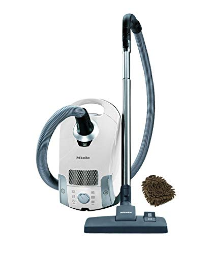 Compact C1, Miele Pure Suction Turbo Canister Vacuum, Lotus White (Complete Set), with Bonus Premium Microfiber Cleaner Bundle