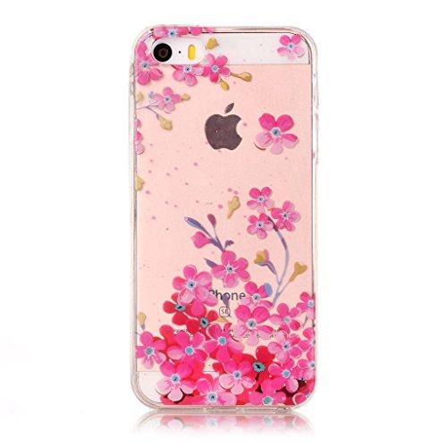 iPhone 5C Coque,Fleurs roses Premium Gel TPU Souple Silicone Transparent Clair Bumper Protection Housse Arrière Étui Pour Apple iPhone 5C + Deux cadeau