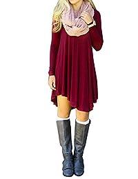 Women's Long Sleeve Casual Loose T-Shirt Dress 10 Colors Plus Size