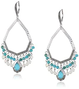 """Judith Jack """"Carnaval"""" Sterling Silver Marcasite  Mother-Of-Pearl and Turquoise Drop Earrings"""
