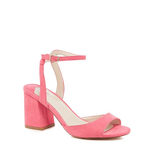 Debenhams Faith Womens Pink Suedette 'Danicar' Mid Block Heel Ankle Strap Sandals d2JvL