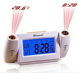 Digital LED Dual Laser Wall Projector Projection Alarm Time Clock Temperature orange