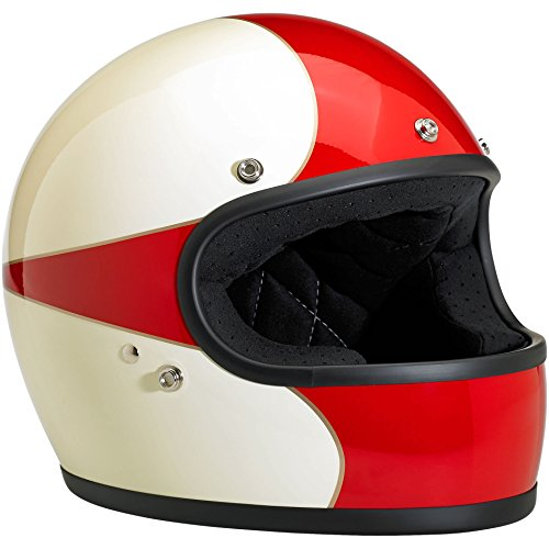 Biltwell Gringo Le Scallop Helmet Antique White Red Large