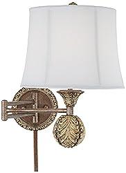 haywood antique gold plugin swing arm wall lamp