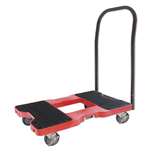 SNAP-LOC PUSH CART DOLLY RED with 1,500 lb. capacity, steel frame, strap option, 4 inch casters by Snap-Loc