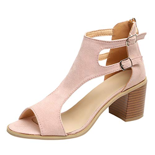 Womens Open Toe Cutout Sandals Stacked Chunky Heel Shoes Zipper Ankle Strap Double Buckle Hollow Out Roma Sandals (Pink, US:8.5)