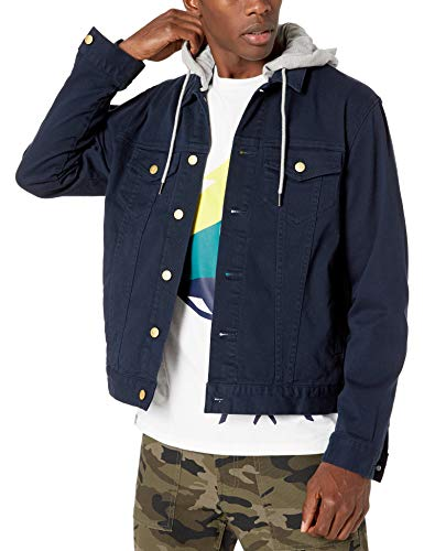 LRG Men's Lifted Research Collection Hooded Denim Jacket, Navy Blazer, M