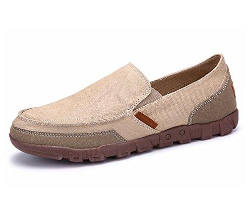 BEFAiR Men's Canvas Shoes Vintage Comfort Casual Slip On Loafers Walking Sneakers Breathable Shoes (9 D(M) US, Khaki2)