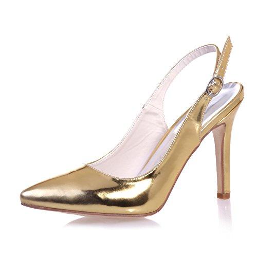 Heels Close Leather Wedding Night Party Toe YC amp; 0608 High Tau Night Wedding Gold 24 Women'S L p0X6Wpn