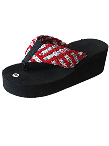 Summens Damen Zehentrenner Sandalen Flip-Flops Beach Pool Schuhe (38 EU, Red)