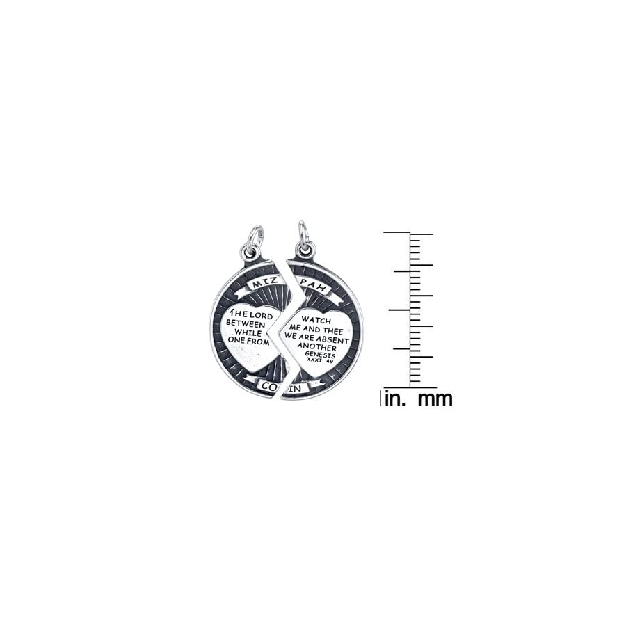 Sterling Silver 25mm Mizpah Break Apart Coin Pendant on a Sterling Silver Box Chain Necklace, 18""