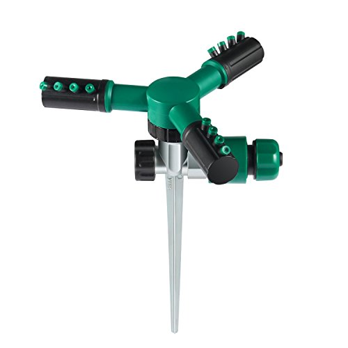 Treatlife 3 Arm Lawn Sprinkler Automatic 360 Degree Rotation Adjustable Dual Connector Connecting in Series Lawn Irrigation System Sprayer Ground Spike (Green)