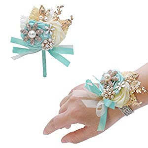 CASEYDRESS Corsage and Boutonniere, 2pcs Set Pink Silk Flowers Rhinestones Boutonniere Pins, Crystals Wrist Bracelet Corsage for Wedding Bridesmaid Prom Party 8 Colors