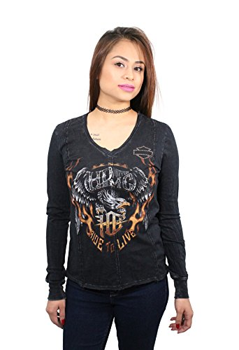 Harley-Davidson Womens Wings of Infinity Eagle Black Shirt - Black Harley Davidson Shirt