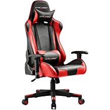 GTRACING Gaming Office Chair Game Racing Ergonomic Backrest and Seat Height Adjustment Computer Chair with Pillows Recliner Swivel Rocker Headrest and Lumbar Tilt E-Sports Chair (Black/Red)