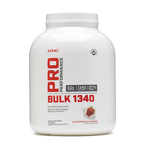 (GNC Pro Performance Bulk 1340, Strawberries and Cream, 7 lbs, Supports Muscle Energy, Recovery and Growth)