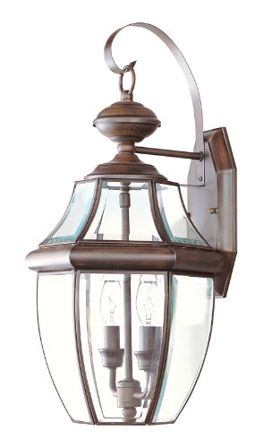Livex Lighting 2251-58 Monterey 2 Light Outdoor Imperial Bronze Finish Solid Brass Wall Lantern  with Clear Beveled Glass