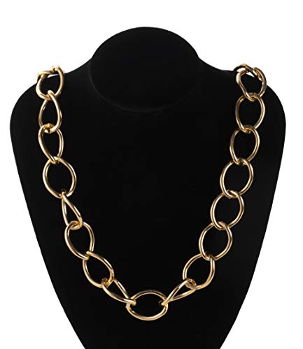 Men's Gold Chain Necklace- 2-Pack Aluminum Big Chunky Necklace, Perfect Accessory for Halloween, Costume and Rap Hip Hop 80s Themed Parties, Assorted Sizes -