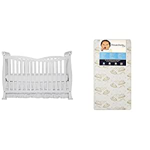Dream On Me Violet 7 in 1 Convertible Life Style Crib with Dream On Me Spring Crib and Toddler Bed Mattress, Twilight