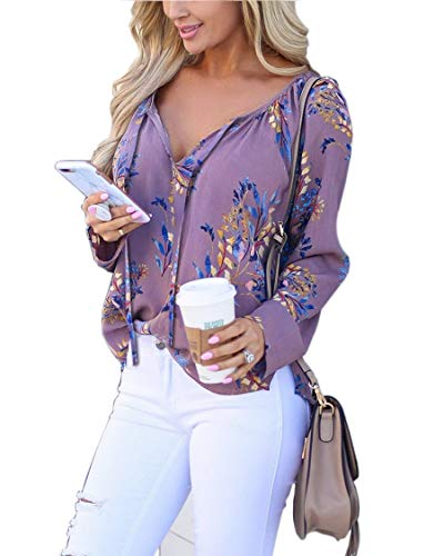 Women Casual Floral Printed Long Sleeve V Neck Loose Chiffon Shirt Blouse Tops Purple XL
