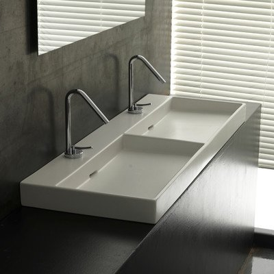 Ceramica I Urban Ceramic Double Bathroom Sink Faucet Mount: No Hole