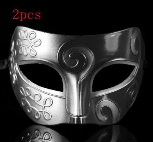 Silver Retro Gladiator Halloween Party Masks Man Woman Children Masquerade Mask (2pcs retro mask $8.95) by HEY -